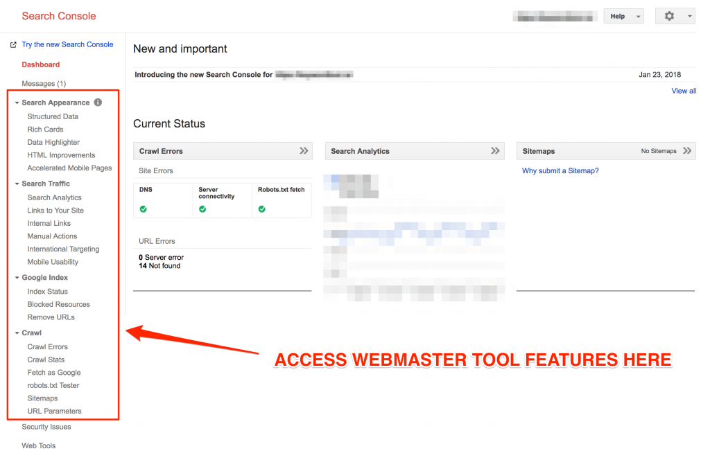 webmaster tools features