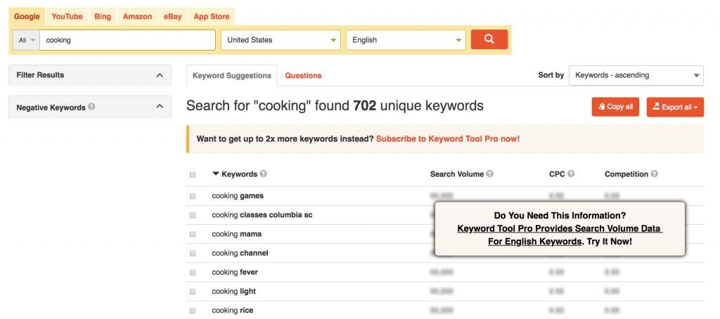 keyword tool autocomplete