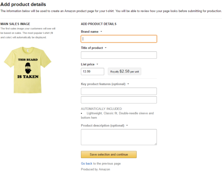 Product detail page on Amazon Merch