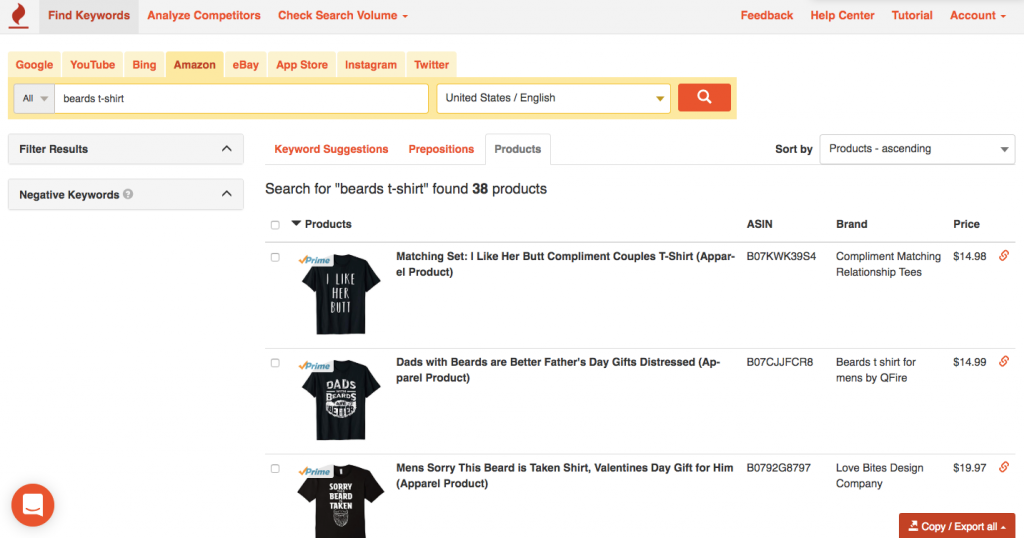 Product research for Merch by Amazon